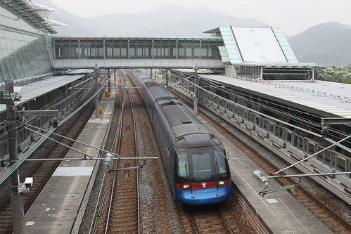 Hong Kong bound Airport Express train runs through Sunny Bay station