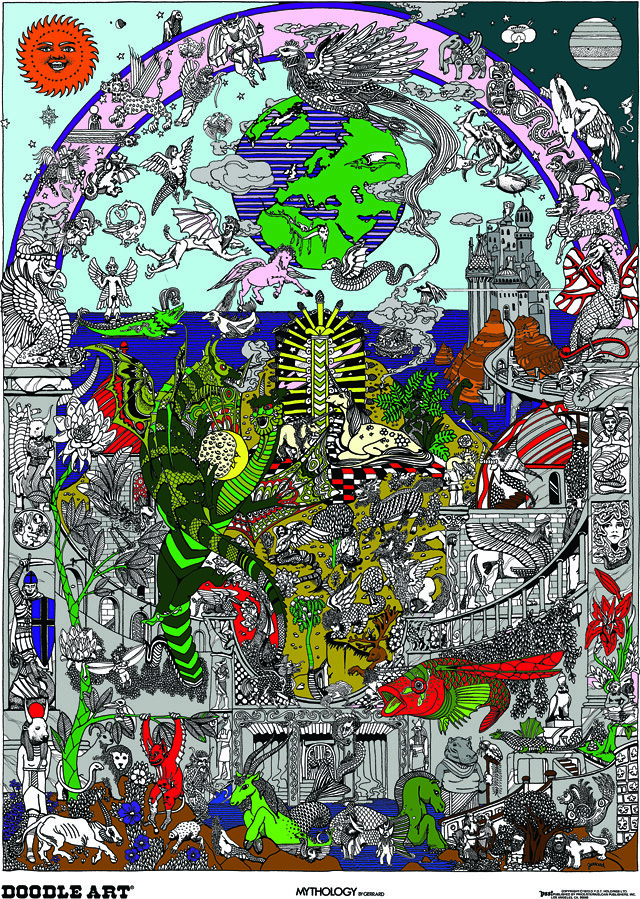 Doodle Art Mythology Coloring Page Poster | This interesting… | Flickr
