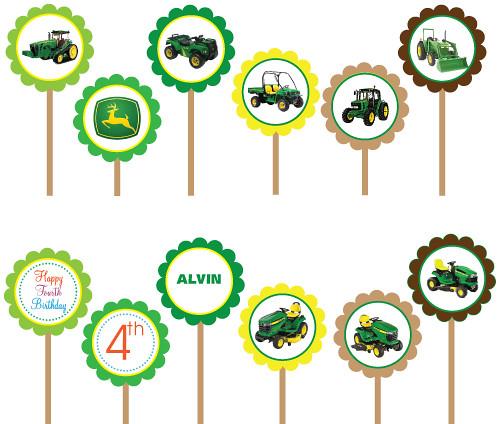John Deere Tractor Printable DIY Circle Cupcake Toppers Flickr