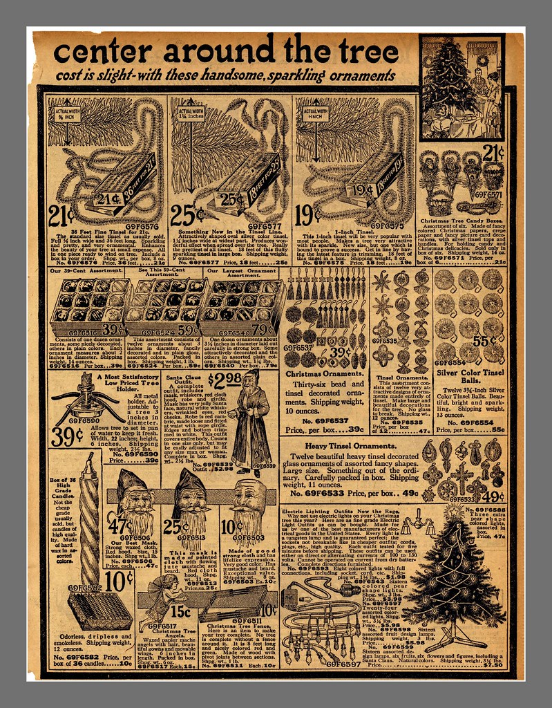 best viewed larger another page from the 1916 sears catalog christmas decorations center round