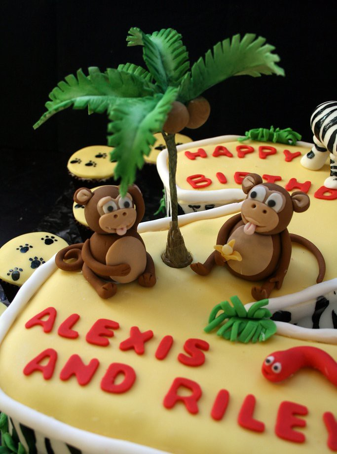Jungle Themed Second Birthday Cake With Fondant Animals And Palm Tree