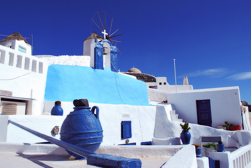 Santorini White and Blue/ Greece/ Oia/ Windmill/ Archetecture/ | by Jeff Rose Photography