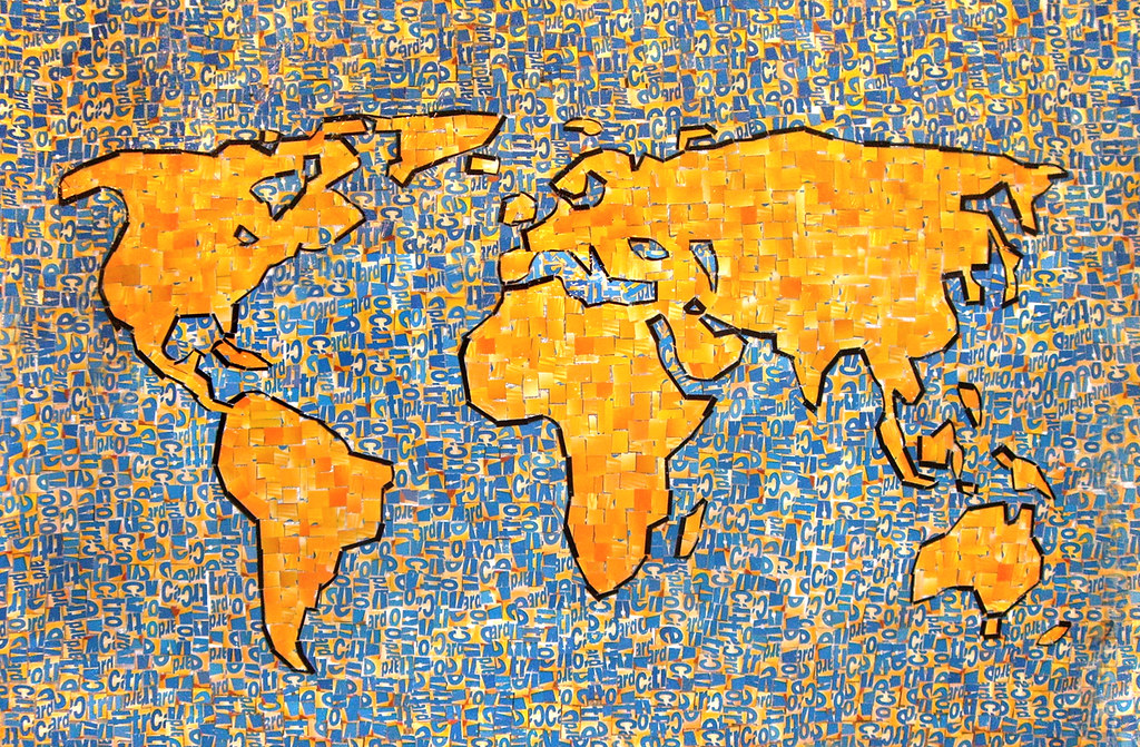 Metrocard collage world map collage made from cut up pie flickr metrocard collage world map by ninaboesch gumiabroncs Gallery