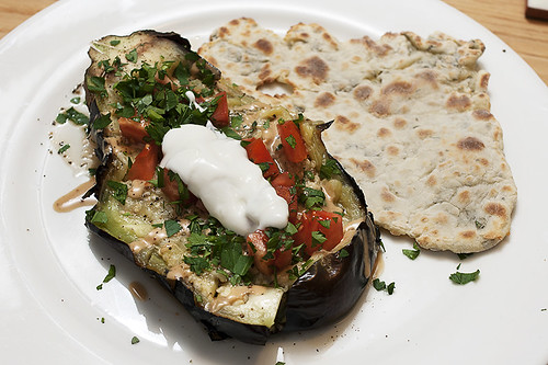 fully-loaded roasted eggplant with yogurt and parsley pita bread | by aarn!