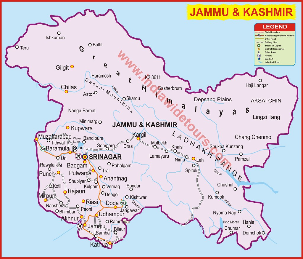 kashmir map, political map of kashmir region nations ...
