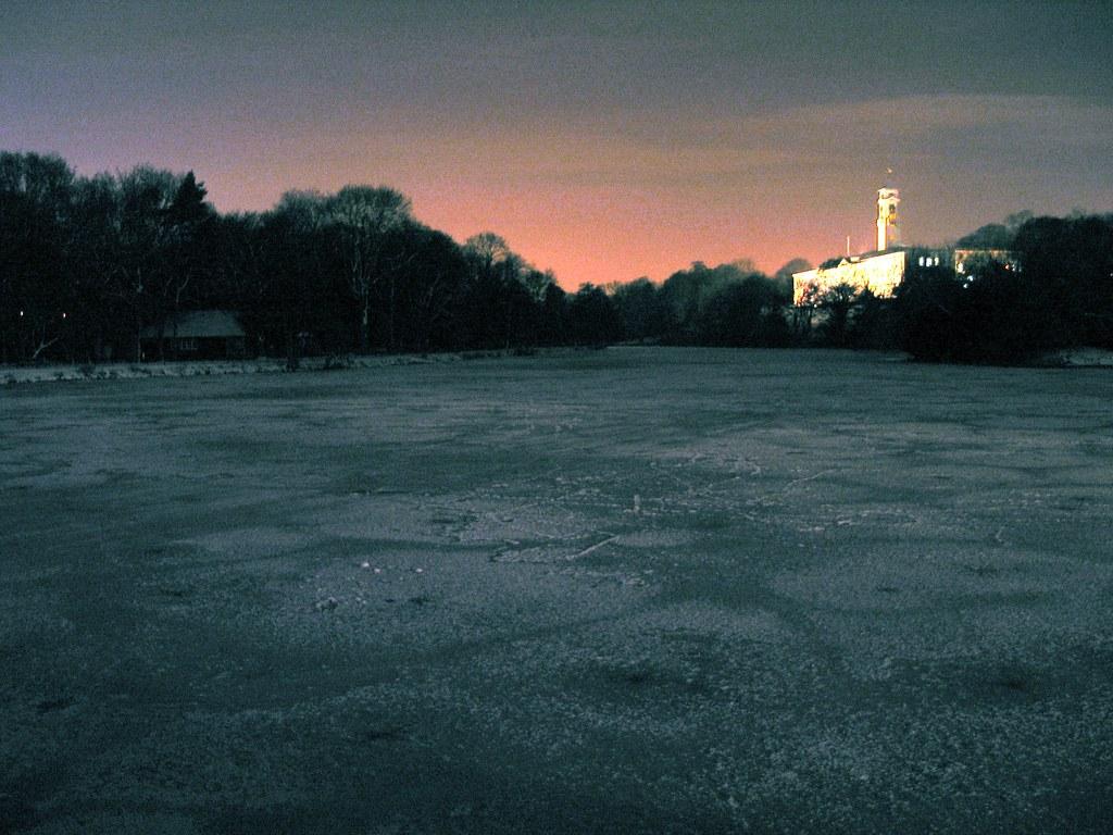 Frozen lake at night