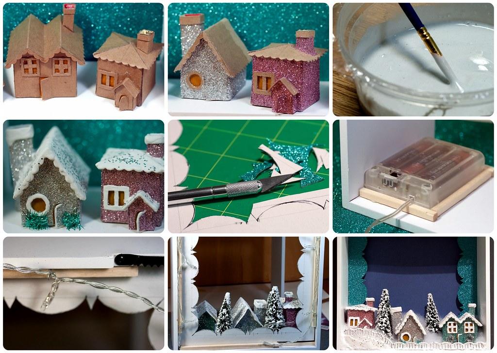 tinyapartmentcrafts modern christmas village process shots by tinyapartmentcrafts - Mini Christmas Village Houses