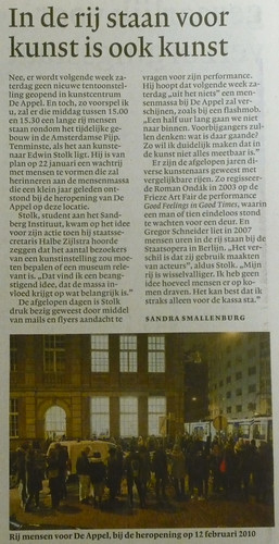 Article in NRC on  14012011 | by Edwin Stolk