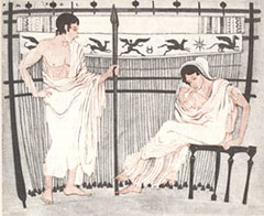 Telemachus and Penelope with her loom. Drawing after an ancient Greek Vase | by saamiblog