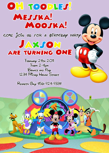 Oh Toodles DIsney Mickey Minnie Mouse Clubhouse Custom Birthday Invitation