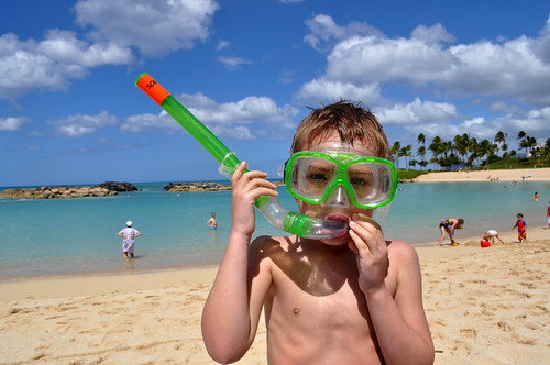 Boy on Beach in Snorkel Gear | by GoodNCrazy