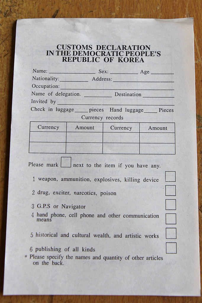 North korea customs declaration you have to exactly fill flickr north korea customs declaration by roman harak thecheapjerseys Choice Image