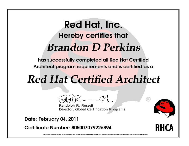 Red Hat Certied Architect Red Hat Inc Hereby Certies T Flickr