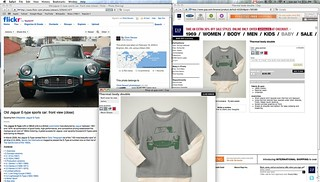My photo of a Jaguar E-Type from Flickr being used on Gap clothing designs | by Chris Devers