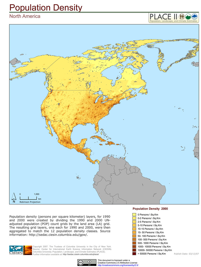 North America Population Density Population Density per Flickr