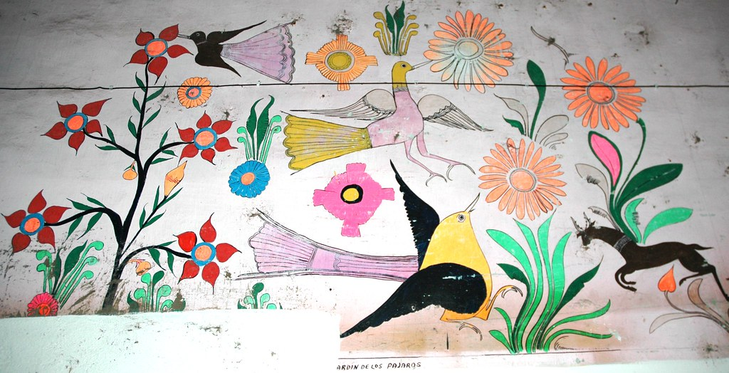 Antique Mexican folk art painting, Garden de los Pajaros, … | Flickr