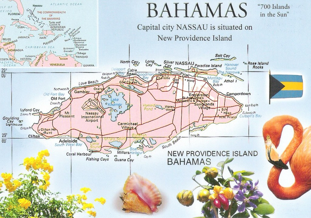 New Providence Island in Bahamas Map Card 2 Giulia Flickr