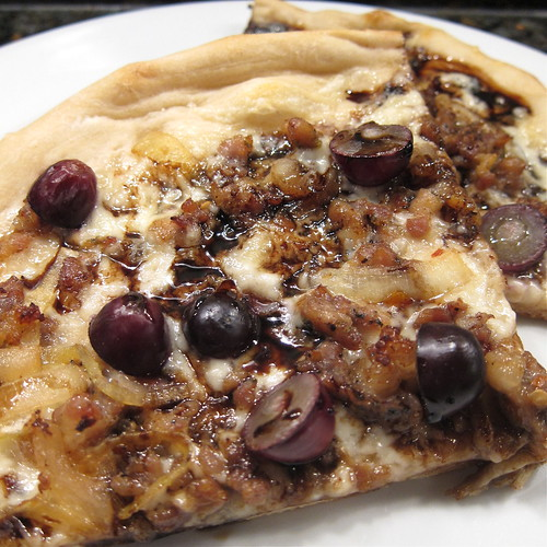 Sausage & Grape Pizza with Balsamic Reduction | by katbaro