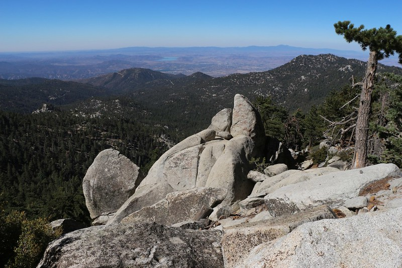 Granite boulders and an expansive viewpoint on the Fuller Ridge Trail
