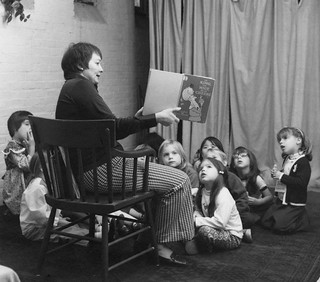 Pegge Strickler Reading to Children | by Howe Library