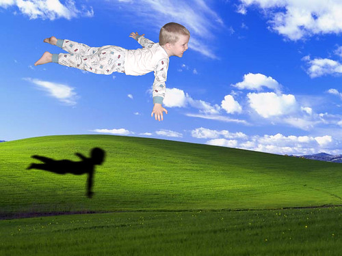 This is a really old image from 2001, when whichever version of Windows first came out with it as its wallpaper.  I photoshopped in Kevin and his shadow to practice my photo editing skills. | by Jim's Photo World