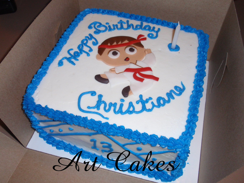 Karate Kid Cake Square buttercream cake with free hand fon Flickr