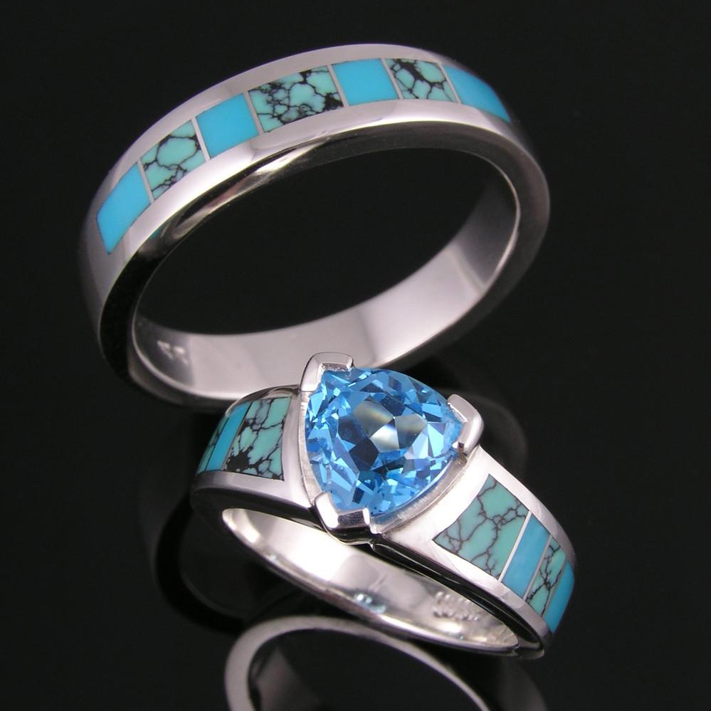 CS023-M200 spiderweb turquoise wedding ring set | Spiderweb … | Flickr