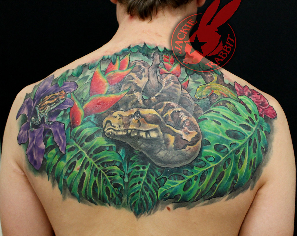 Boa Python Snake Frog Flower Tropical 3d Rain Forest Tatto Flickr