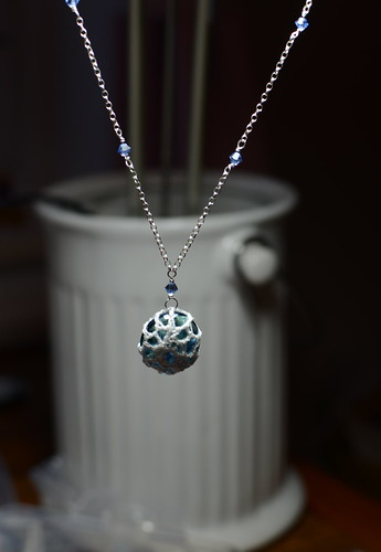 crochet glass pendant | by dottycookie