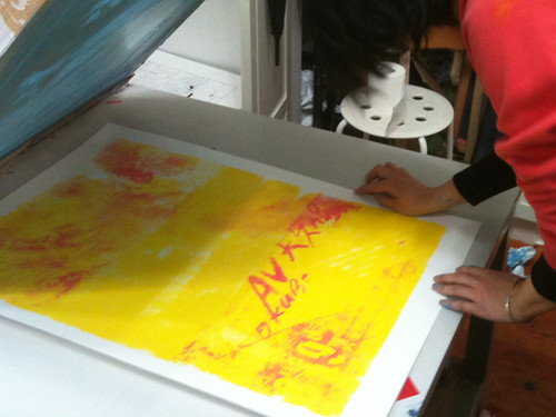 Printing poster for MaybeMars Shanghai 'JUE' showcase - AV OKUBO +  SNAPLINE | by IdleBeats ScreenPrint