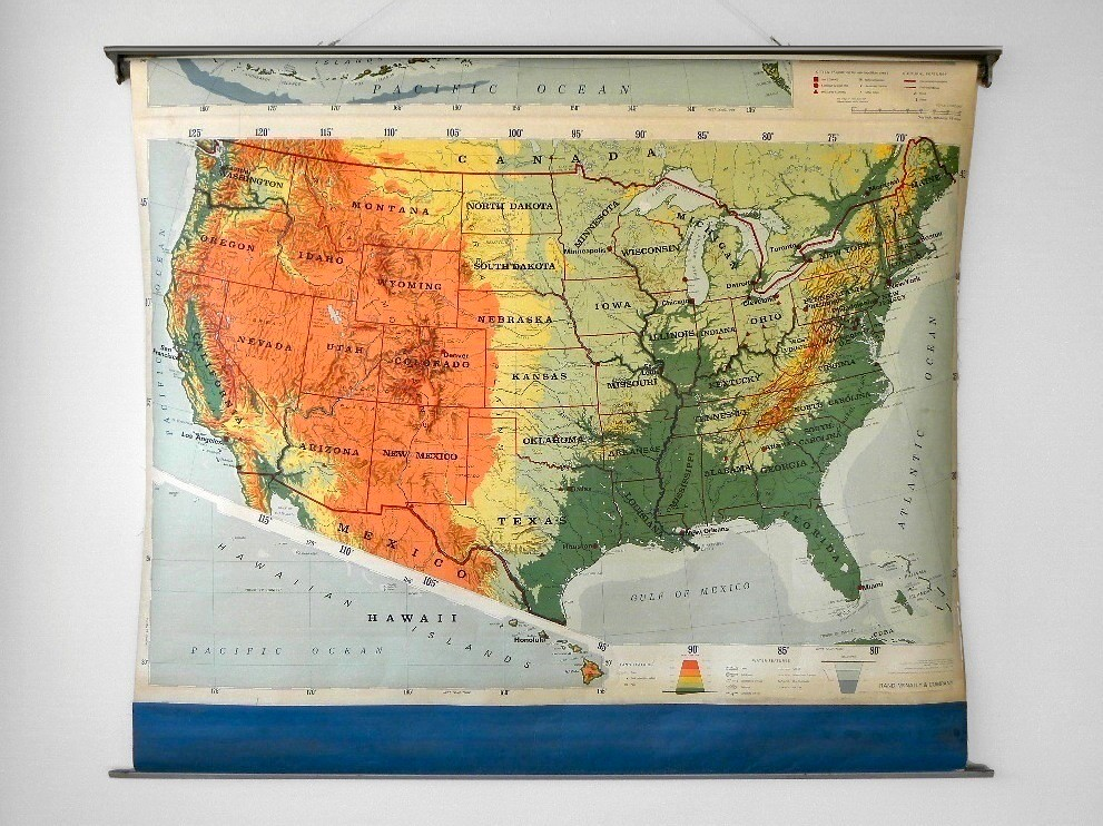 Classroom Pull Down World Map.Vintage Rand Mcnally Pull Down Classroom Map United State Flickr