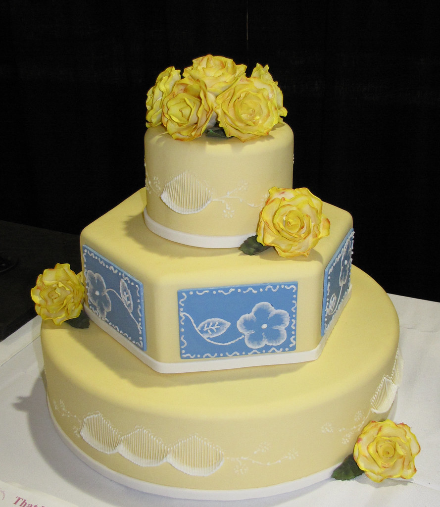 Classic Yellow and Blue Wedding Cake by Tyler Gary | Flickr
