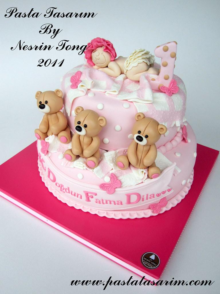 Teddy Bears And Sleeping Baby Cake Dila 1st Birthday Flickr