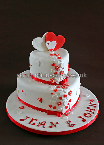 Wedding cake 689 red white hearts paula jane bourke flickr wedding cake 689 red white hearts by scrumptious cakes by paula junglespirit Gallery