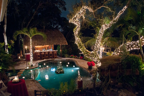 Lagoon Swimming Pool Christmas Party With Grotto Waterfall