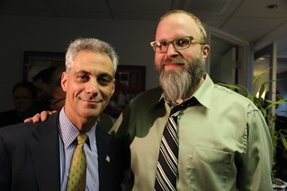Exclusive Photo: Mayor-Elect Rahm Emanuel and Dan Sinker, Author of the @MayorEmanuel Twitter Account, Arm in Arm in WLS Studios in Chicago | by danxoneil