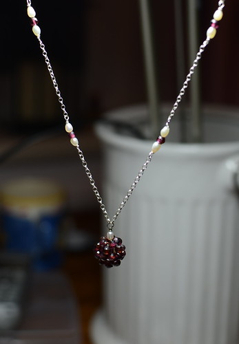 Garnet cluster necklace | by dottycookie
