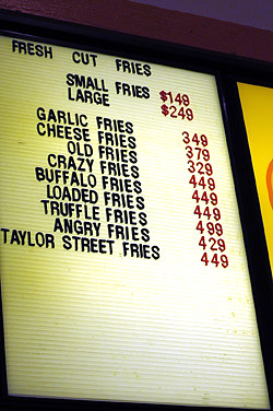 fries menu | by David Lebovitz