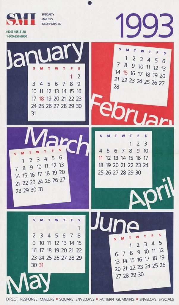 1993 Smi Wall Calendar I Designed This Calendar For Specia Flickr