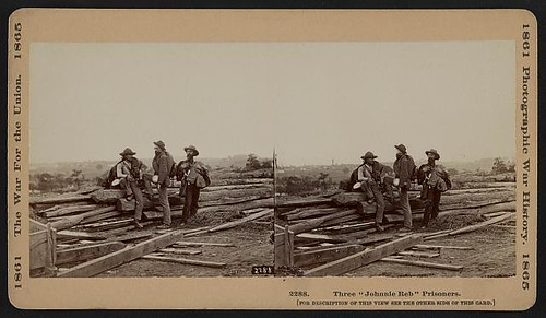 "Three ""Johnnie Reb"" Prisoners. Photographed by Mathew Brady's team on Seminary Ridge in mid-July, 1863, after the Battle of Gettysburg (LOC) 
