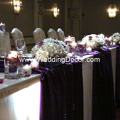 Wedding Reception Head Table Ideas: Head Table Decorations - Royal Purple & Ivory