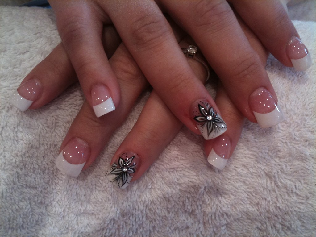 White French With Black Flower Nail Art Eyecandynails Flickr