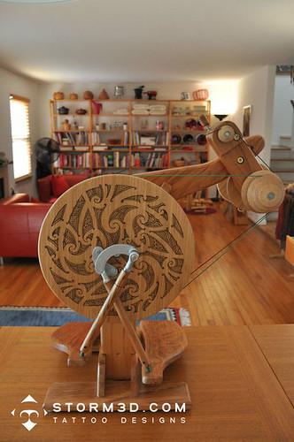 maori tattoo design on wood spinning wheel mark storm flickr. Black Bedroom Furniture Sets. Home Design Ideas