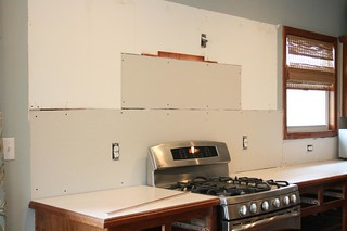 day 2: tile and upper cabinet removal | by pinkpicketfence