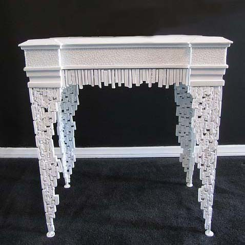 4158 WHITE ORNATE DECORATIVE TABLE | by Diva Rocker Glam (844)-448-0888