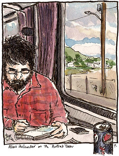 sketchcrawl 31, allan on amtrak