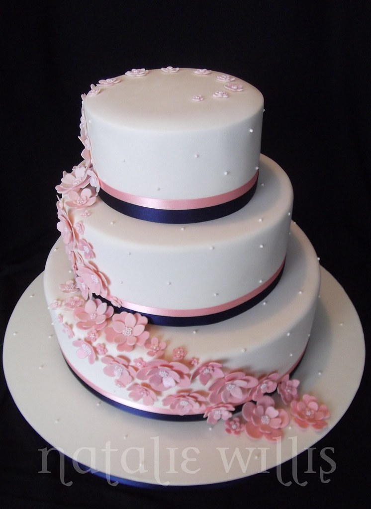pink and navy wedding cake by sweettart cakes natalie aka sweetness bite