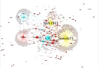 Network extracted from User Talk pages of Venetian Wikipedia and visualized with Gephi | by phauly