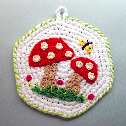 Crochet Red Mushrooms Kitchen Pot Holder Made From