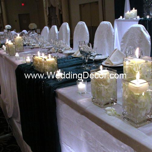 Wedding Reception Head Table Ideas: Head Table Decorations - Hunter Greeen & White